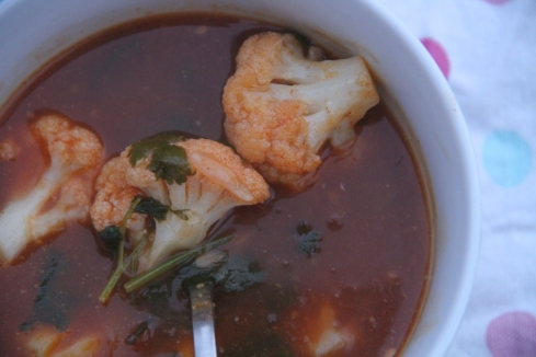Chilli and tamarind, Asian style cauliflower soup recipe